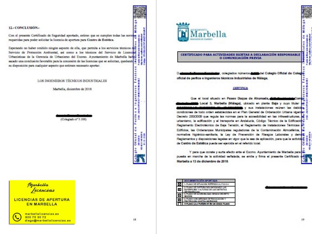 Certificado Licencia Apertura Centro Estetica Marbella 001