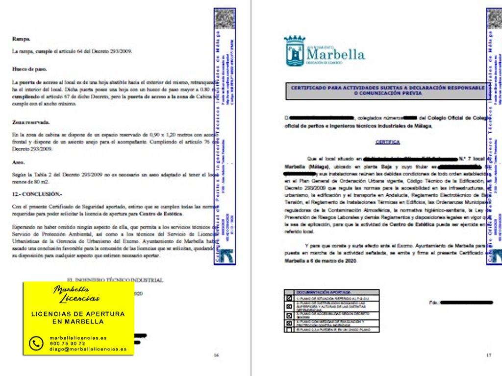 Certificado Licencia Apertura Peluqueria Marbella 001
