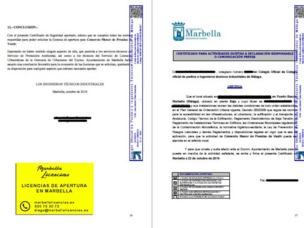 Certificado Licencia Apertura Tienda Ropa Marbella 001